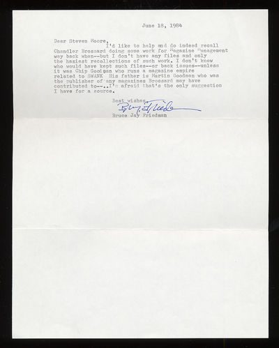 Unbound. Fine. Brief Typed Letter Signed dated June 18, 1984. Envelope included. Fine, folded as mai...