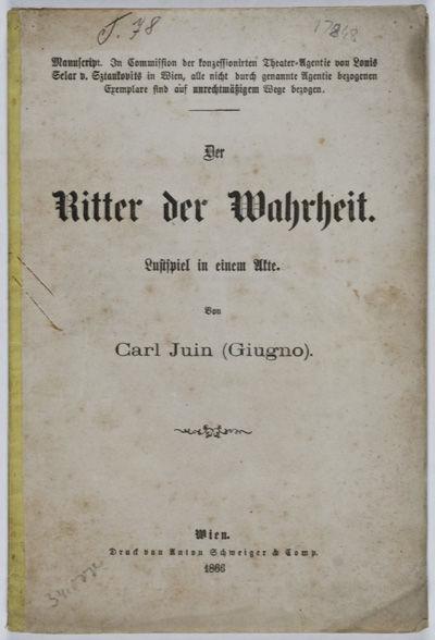Wien: Anton Schweiger & Comp, 1866. Softcover. fair. 8vo. 15pp. Wraps missing. Top and bottom corner...
