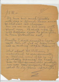 Autograph Letter Signed, 4to on lined notebook paper, n.p., n.d. but likely 1913-1917.  File in written across top of page