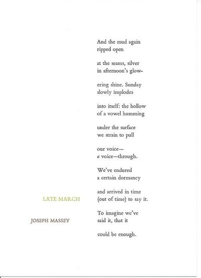 Tungsten Press, N. H., 2015. 1st edition, limited (1/33) numbered and signed, broadside. Handsomely ...