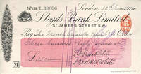 image of Autographed check from Shackleton fom his Imperial Trans-Antarctic Expedition, signed by Shackleton