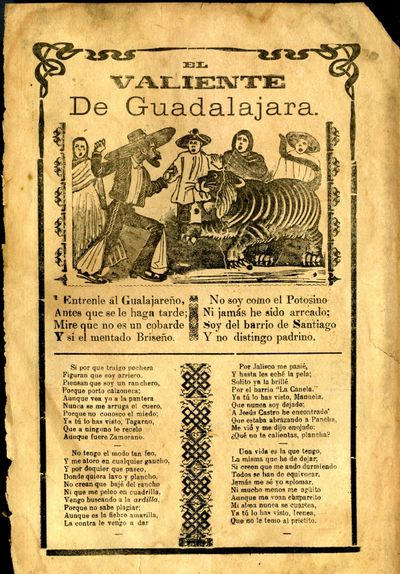 Mexico: A. V. Arroyo, 1913. Unbound. Very Good Condition. Broadside corrido, chipped and browned at ...