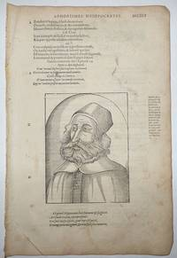 16th-century leaf with a large illustration showing Galen from Ambroise Paré's Aphorismes