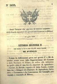 che approva lo statuto organico della Scuola Superiore di Agricoltura istituitasi in Milano.