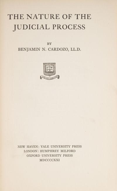 1921. New Haven: Yale University Press, 1921.. New Haven: Yale University Press, 1921. Cardozo's Cop...