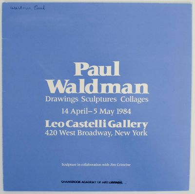 New York: Leo Castelli Gallery, 1984. First edition. Exhibition brochure for a show that ran April 1...