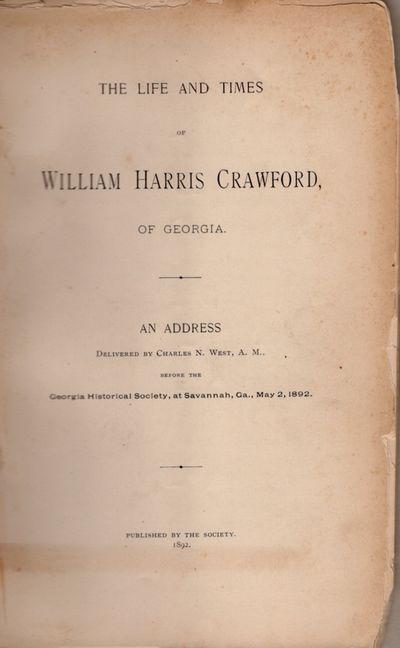 Savannah: Georgia Historical Society, 1892. First Edition. Wraps. Fair. Wraps. Approx. 9