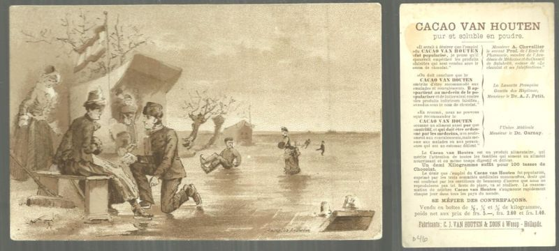 VICTORIAN TRADE CARD FOR VAN HOUTEN CACAO WITH ICE SKATING PARTY, Advertisement