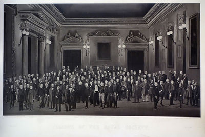 London, 1875. Royal Society. Fellows of the Royal Society. Autotype (carbon-process) composite photo...