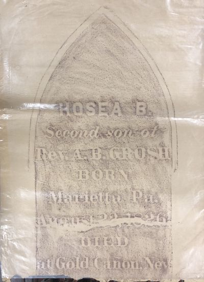 Good. Set of 7 gravestone rubbings from the cemetery in Silver City, Nevada. Death dates range from ...