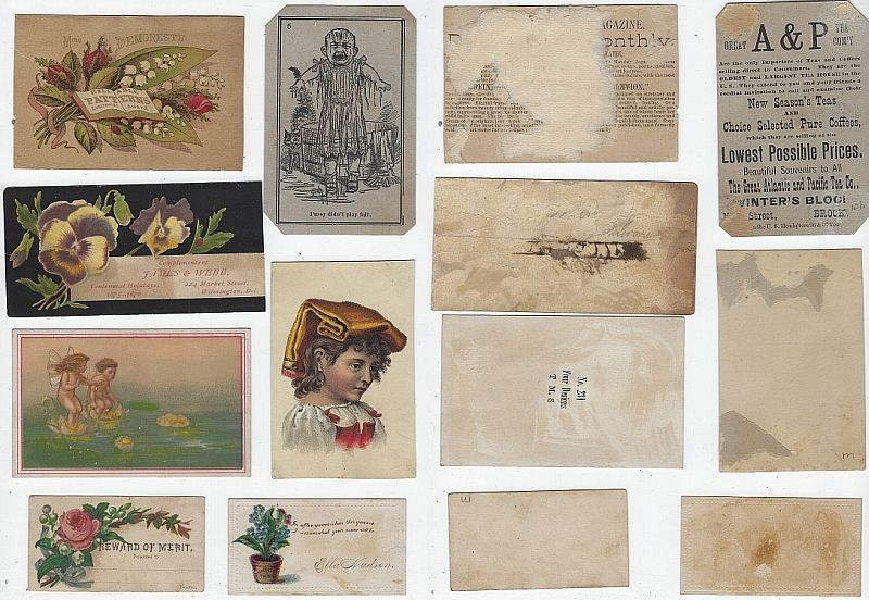 LOT OF SEVEN SCRAP VICTORIAN TRADE CARDS, Advertisement