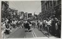 image of [Postcard with a photo by Ramirez depicting San Francisco Gay Freedom Day Parade participants holding up signs ranking Anita Bryant with Stalin, Hitler, Idi Amin, and a KKK cross burning]