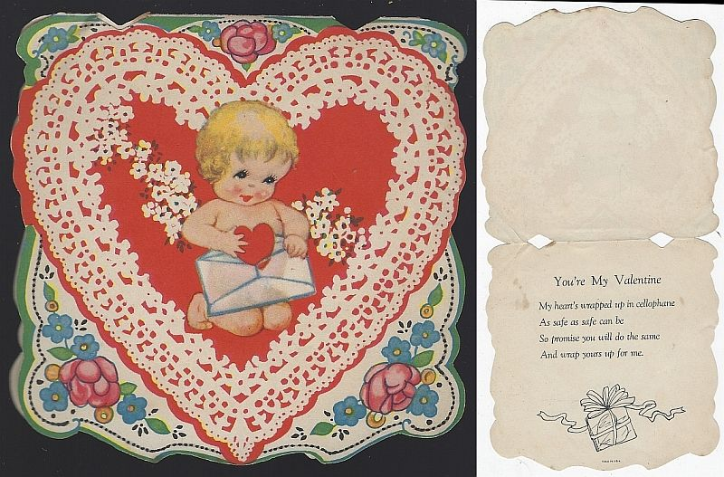 VINTAGE VALENTINE CARD WITH BABY MAILING A HEART, Valentine