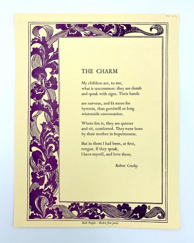 : Book People-Mudra, 1971. Fine. 11 x 8.5 inches. Purple floral border. First broadside edition.