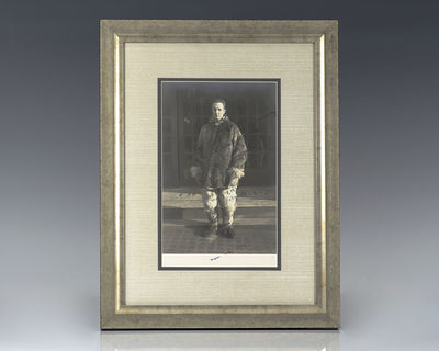 Original black and white photograph of polar aviator Richard E. Byrd. Inscribed by Byrd,
