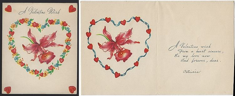 VINTAGE VALENTINE CARD WITH IRIS AND FLOWER HEART, Valentine