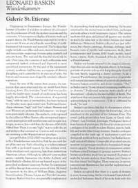 Leonard Baskin: Wunderkammer. April 23 - July 2, 2015. Galerie St. Etienne, New York, NY. [Exhibition brochure].
