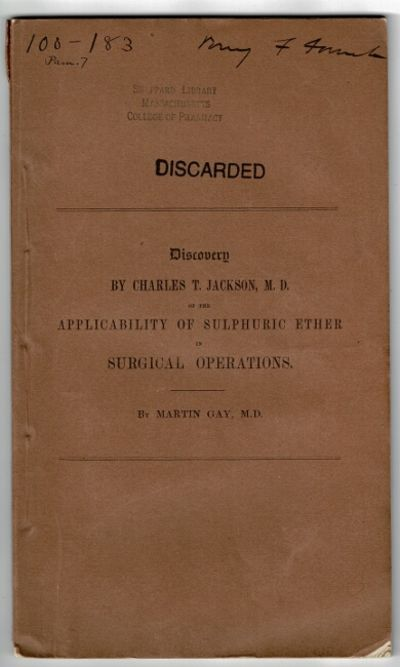 Boston: printed by David Clapp, 1847. First edition, 8vo, pp. 29, , xviii; original printed terracot...