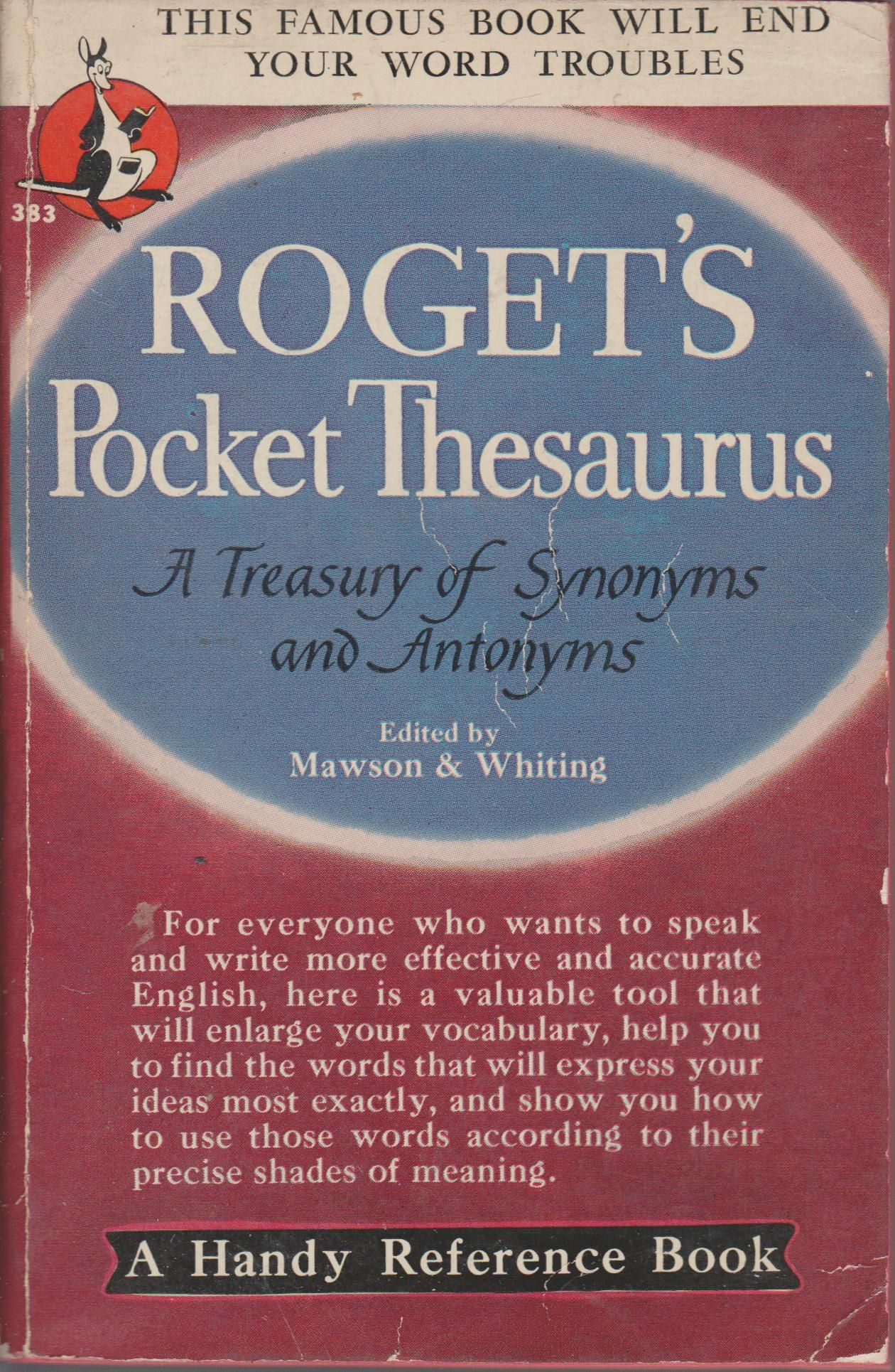 Roget's Pocket Thesaurus by Katharine Aldrich C O  Sylvester