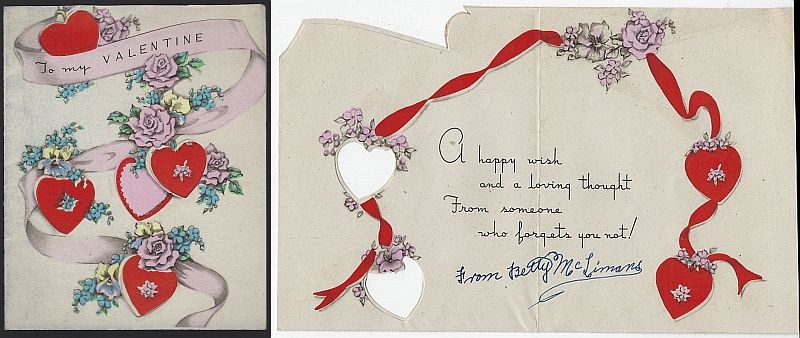 VINTAGE VALENTINE CARD WITH HEARTS, FLOWERS AND RIBBON, Valentine