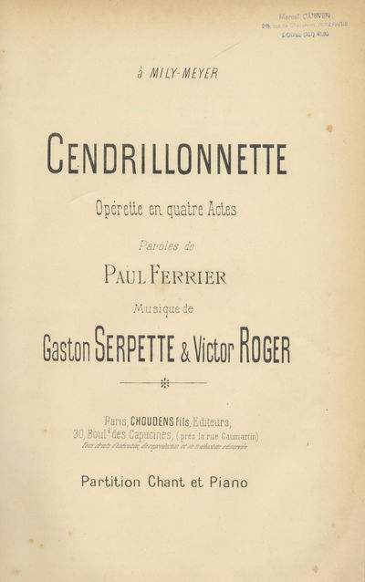 Paris: Choudens Fils , 1890. Large octavo. Full modern dark green textured cloth with titling gilt t...