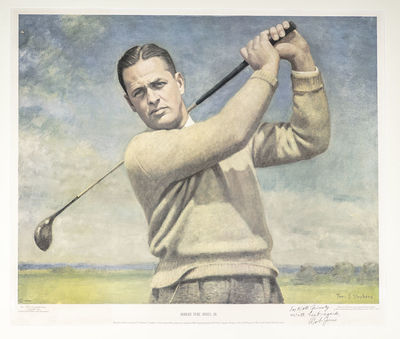 1954. Attractive signed large color portrait of golfer Bobby Jones swinging his driver. Boldly inscr...