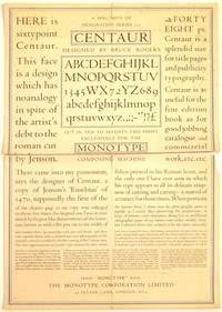 [Broadside of type specimens]: Centaur, Designed By Bruce Rogers