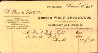 Petersburg, Virginia: Spotswood, 1858. Receipt. Very good. Approx. 4.5