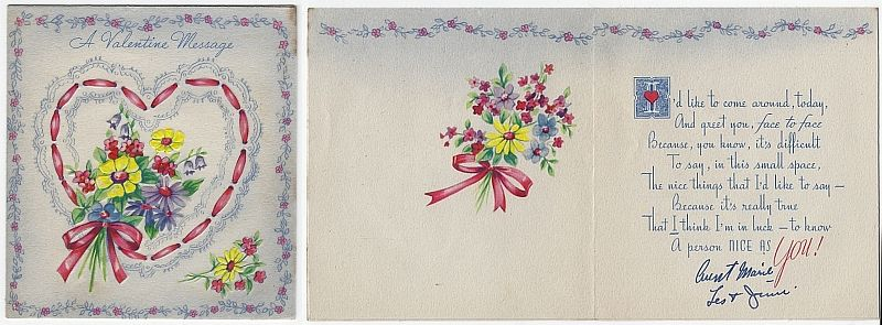 VINTAGE VALENTINE CARD WITH FLOWERS AND RIBBON HEART, Valentine