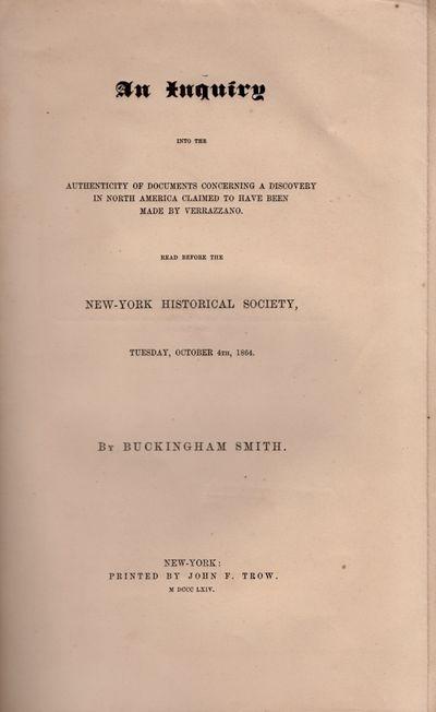 New York: Printed by John F. Trow, 1864. Wraps. Fair. Wraps. 31 pages. Folding map. Disbound wraps. ...