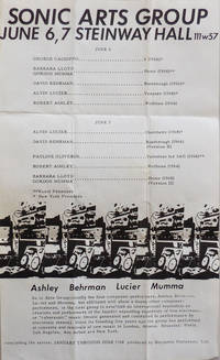 1968 Concert Flyer - Sonic Arts Group June 6, 7 Steinway Hall