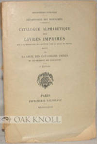Paris: Imprimerie Nationale, 1933. stiff paper wrappers. Bibliothèque Nationale. 8vo. stiff paper w...