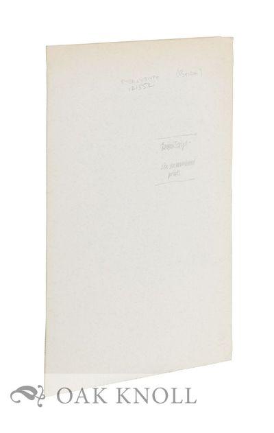 N.P.: n.p., 1994. Loose in portfolio. Briom. 4to. Loose in portfolio. Six prints of scripts, signed ...