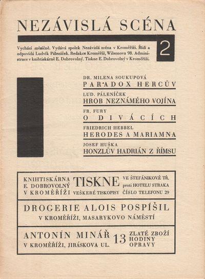 Kroměříž: Nezávislá scéna v Kroměříži, . Small octavos (19.2 × 14 cm). Original typograp...