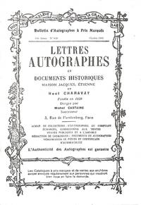 Bulletin no.828/Octobre 2000 : Lettres Autographes et Documents  Historiques. by  NOEL - PARIS CHARAVAY - from Frits Knuf Antiquarian Books (SKU: 78941)