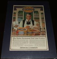 image of Large 1917 Full Page Color Store Clerk for Armour Products, Matted Ready  to Frame a Great Image