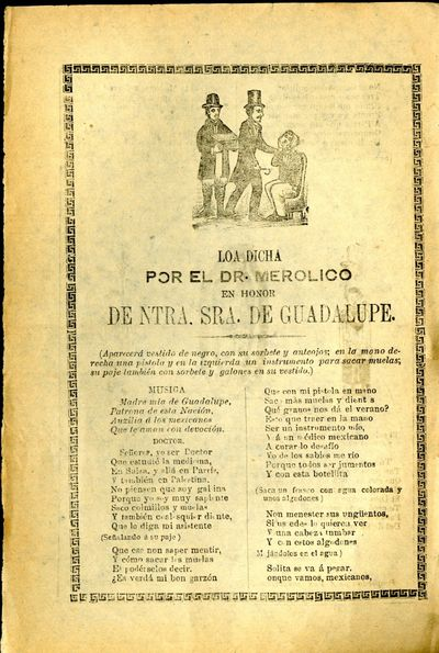 Mexico: A. V. Arroyo, 1904. Unbound. Very Good Condition. Broadside corrido, chipped slightly at edg...