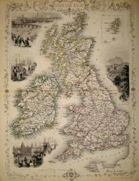 The British Isles, antique map with vignette views
