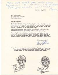 Two Original Drawings Signed and Captioned, with Autograph Note Initialed within a Typed Letter to the cartoonist, 4to, [Sept. 23, 1960]