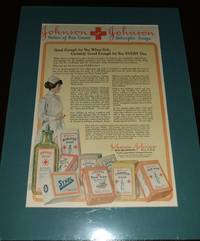 image of Large 1917 Full Page Color Ad for Johnson & Johnson Medical Products,  Matted Ready to Frame , Great Vintage Image