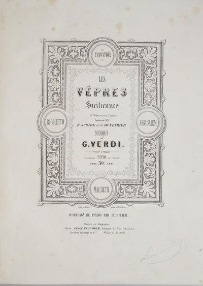 Paris: Léon Escudier , 1855. Folio. Quarter contemporary dark green textured cloth with dark green ...