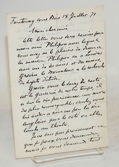 Fontenay sous Bois: the author, 1871. Two-page letter on a single folded piece of stationery, 5x7.5 ...
