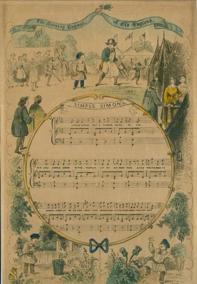 London: Dean & Co., 1840s. Hand colored lithograph on board/heavy stock sheet music with words and m...