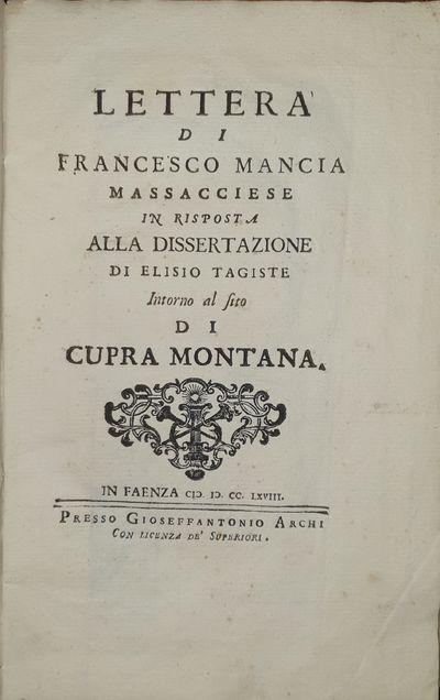 Lettera Di Francesco Mancia...