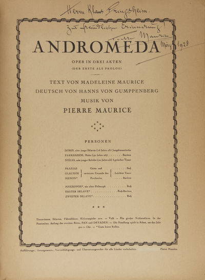 n.p., : Pierre Maurice, 1923. Quarto. Original publisher's brown printed wrappers with titling in da...