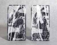 image of Incised Black Marble Bookends, Mayan Motif