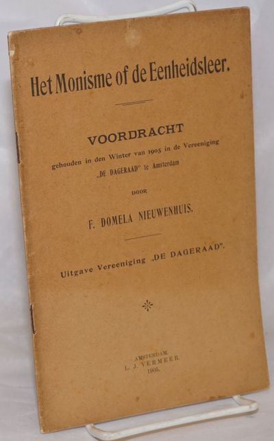 Amsterdam: L.J. Vermeer, 1905. Pamphlet. 32p., very fragile yellowed wraps, else in good condition. ...