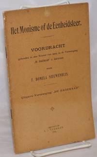 image of Het monisme of De eenheidsleer, voordracht gehouden in den Winter van 1905 in de Vereeniging
