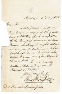 image of AUTOGRAPH LETTER ABOUT A CENTENNIAL CELEBRATION IN NEW HAVEN SIGNED BY BROOKLYN CITY PLANNER HENRY EVELYN PIERREPONT.