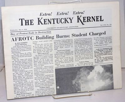 Lexington: University of Kentucky, 1970. 4p., tabloid newspaper format, closed edge tear. Describes ...